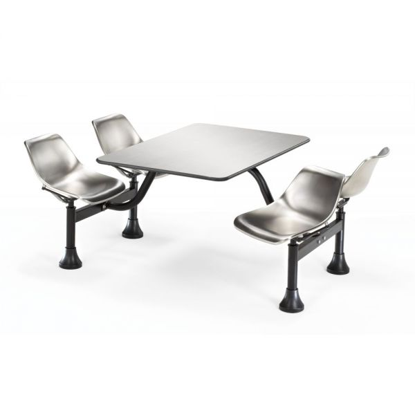 OFM OFM Cluster Table with 4 Attached Swivel Chairs and Stainless Steel Top, Stainless Steel