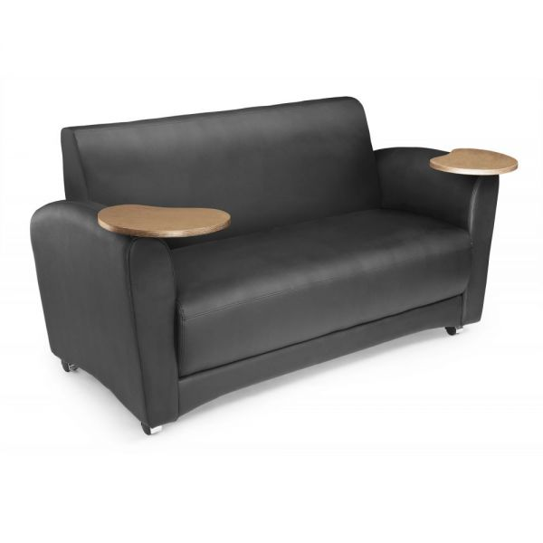 OFM OFM InterPlay Series Upholstered Guest / Reception Sofa, Black, Bronze Tablet