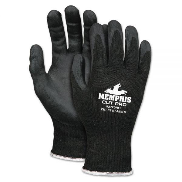 MCR Safety Cut Pro 92720NF Gloves, Large, Black, HPPE/Nitrile Foam