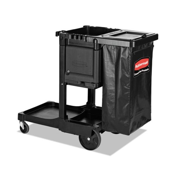 """Rubbermaid Commercial Executive Janitorial Cleaning Cart, 12.1"""" x 22.4"""" x 23"""", Black"""