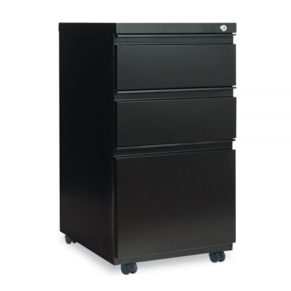Alera Three-Drawer Metal Pedestal File With Full-Length Pull, 14 7/8w x 19 1/8d, Black