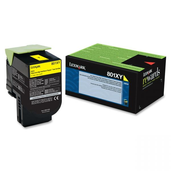 Lexmark 801XY Yellow Extra High Yield Return Program Toner Cartridge (80C1XY0)