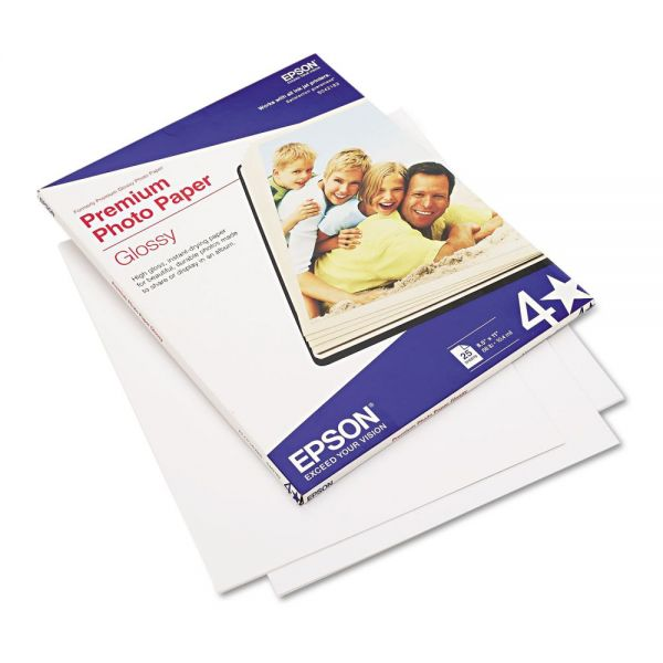 Epson Premium Photo Paper, 68 lbs., High-Gloss, 8-1/2 x 11, 25 Sheets/Pack