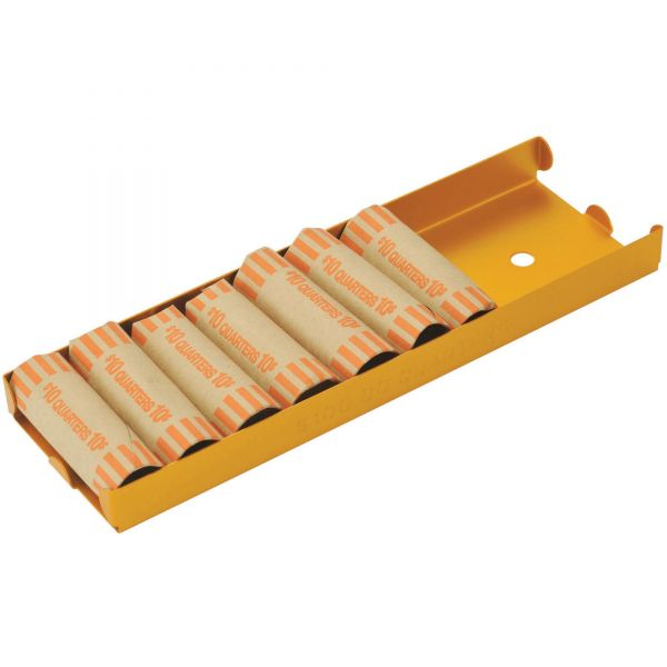 MMF Industries Rolled Coin Aluminum Tray w/Denomination & Quantity Etched on Side, Orange