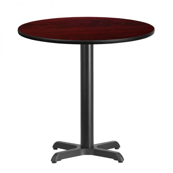 Flash Furniture 30'' Round Mahogany Laminate Table Top with 22'' x 22'' Table Height Base