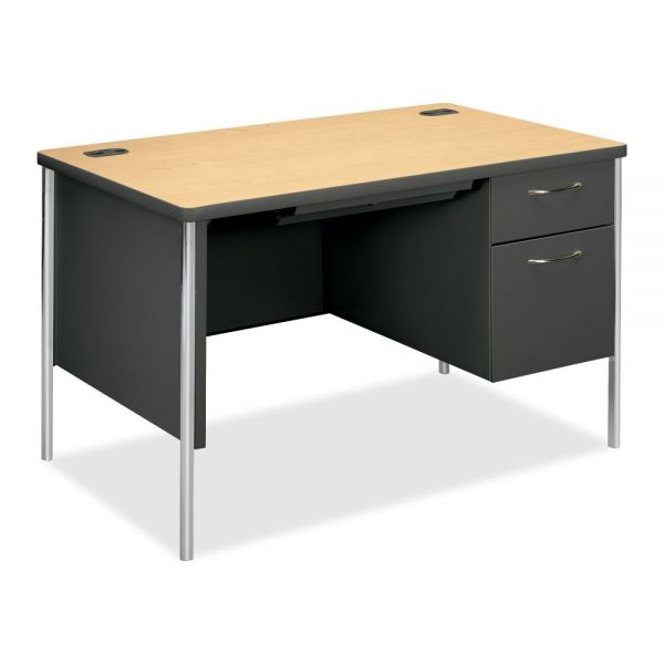 "HON Mentor Right Pedestal Desk | 1 Box / 1 File Drawer | Platinum Legs | 48""W"