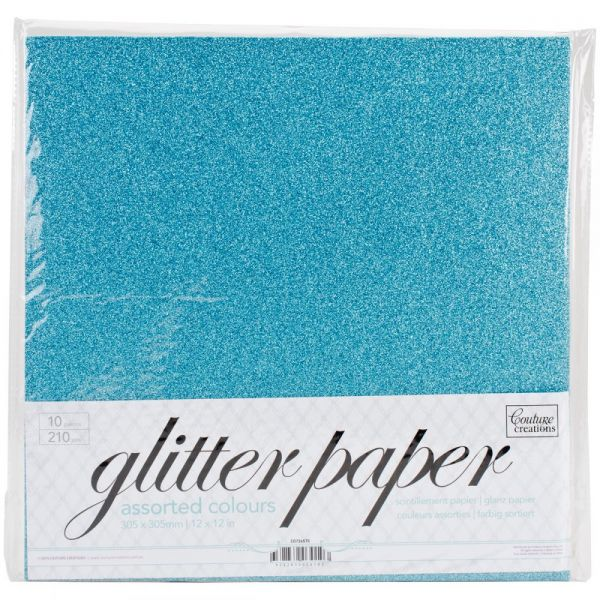 "Couture Creations Glitter Paper Pad 12""X12"" 10/Pkg"