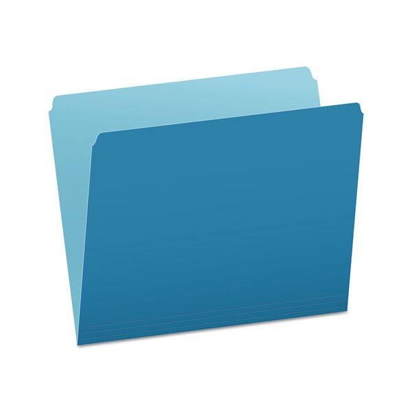 Pendaflex Colored File Folders, Straight Cut, Top Tab, Letter, Blue/Light Blue, 100/Box