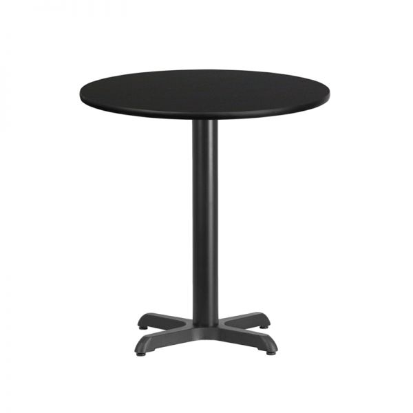 Flash Furniture 24'' Round Black Laminate Table Top with 22'' x 22'' Table Height Base