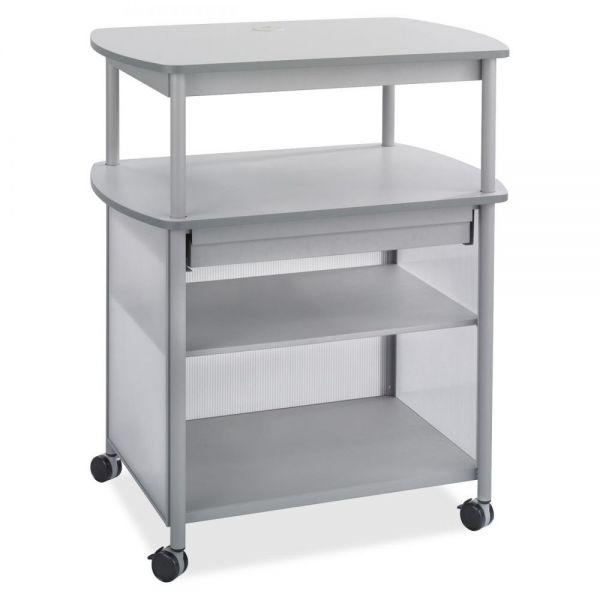 Safco Impromptu AV Cart With Storage Drawer, Three-Shelf, 36-1/2 x 26 x 44, Gray