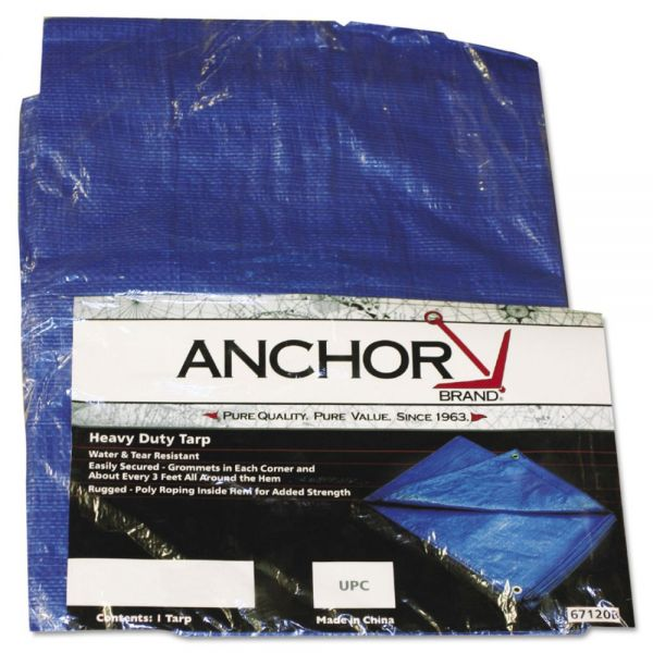 Anchor Brand Multiple Use Tarpaulin, Polyethylene, 10 ft x 16 ft, Blue