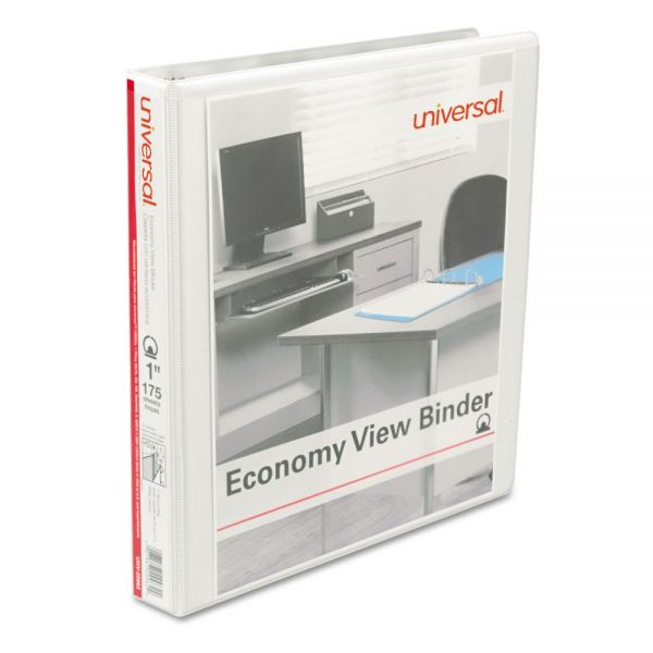 "Universal Economy 3-Ring View Binder, 1"" Capacity, Round Ring, White, 12/Carton"