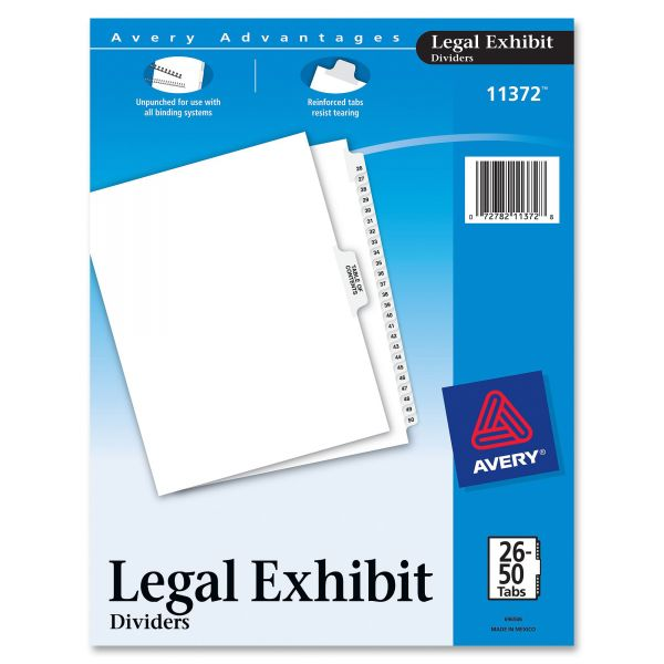 Avery-Style Legal Exhibit Side Tab Divider, Title: 26-50, Letter, White