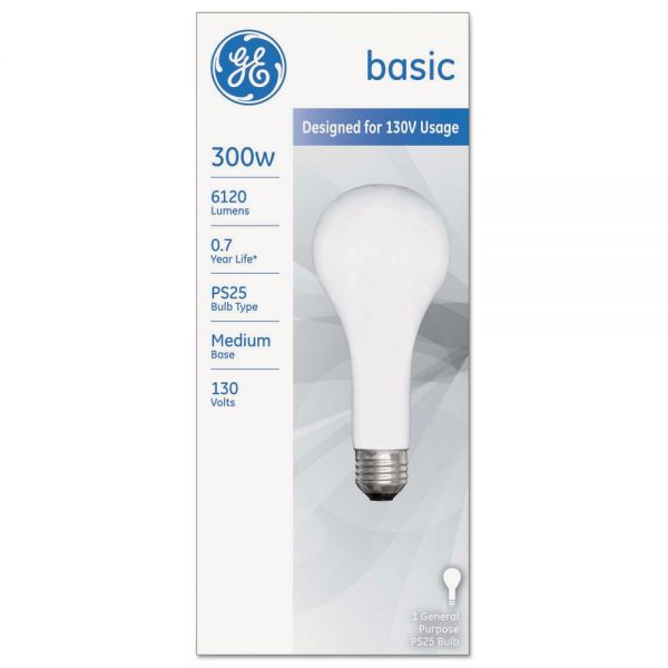 GE Incandescent Basic Bulb, PS25, 300 W, 6120 lm
