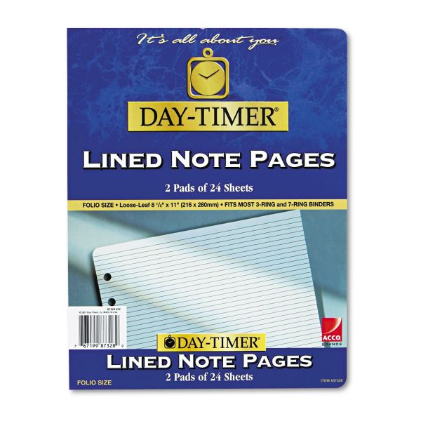 Day-Timer Multipurpose Lined Add-In Pages