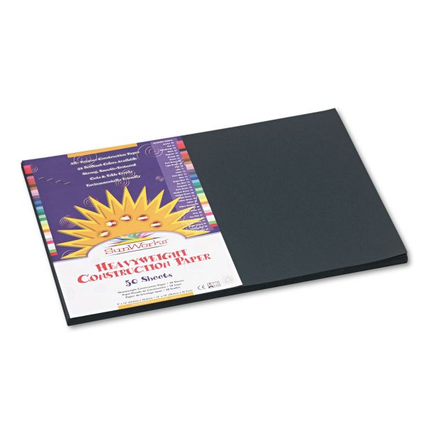 SunWorks Construction Paper, 58 lbs., 12 x 18, Black, 50 Sheets/Pack