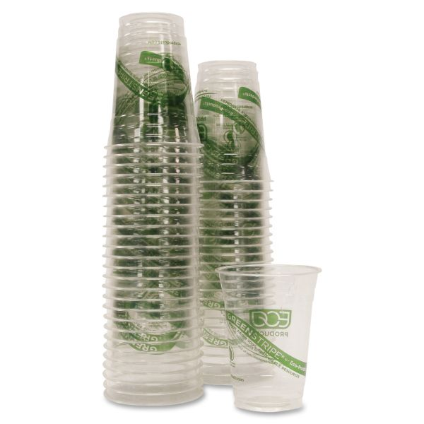 Eco-Products Green Stripe 16 oz Plastic Cups