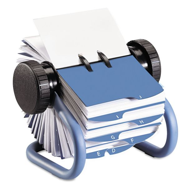 Rolodex Colored Open Rotary Business Card File with 24 Guides, Blue