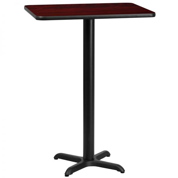 Flash Furniture 24'' x 30'' Rectangular Mahogany Laminate Table Top with 22'' x 22'' Bar Height Table Base