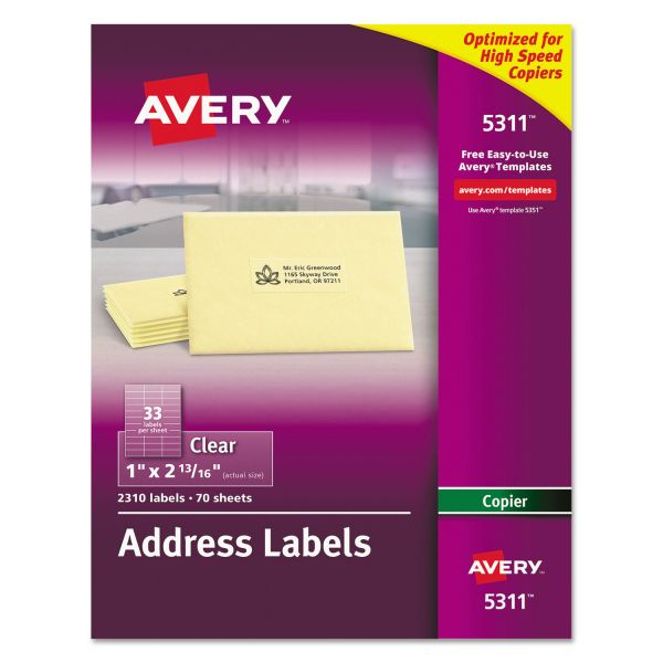 Avery Mailing Clear Easy Peel Copier Address Labels, 1 x 2 13/16, 2310/Pack