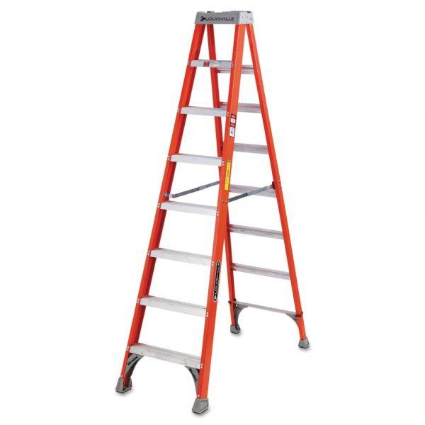Louisville FS1500 Series Fiberglass Step Ladder, 8 ft, 5-Step, Red