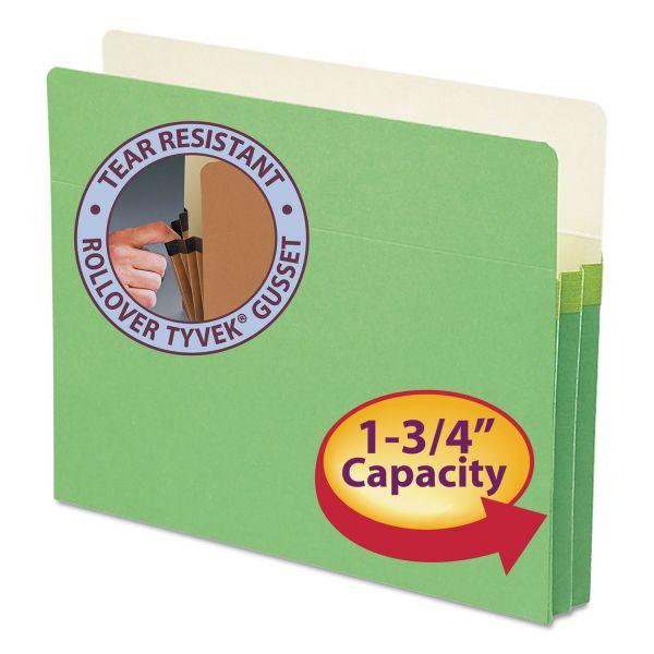 "Smead 1 3/4"" Exp Colored File Pocket, Straight Tab, Letter, Green"