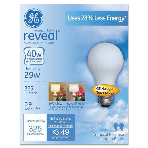 GE Halogen A-Line Bulb, A19, 325 lm, 2/Pack