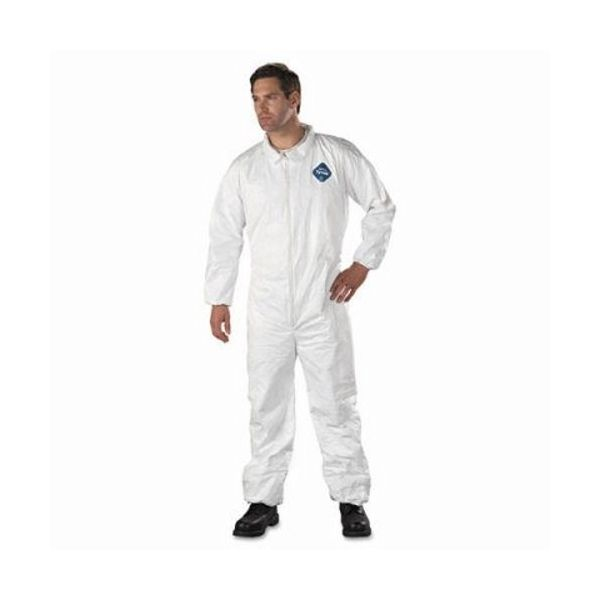 DuPont Tyvek Elastic-Cuff Coveralls, HD Polyethylene, White, 3X-Large, 25/Carton