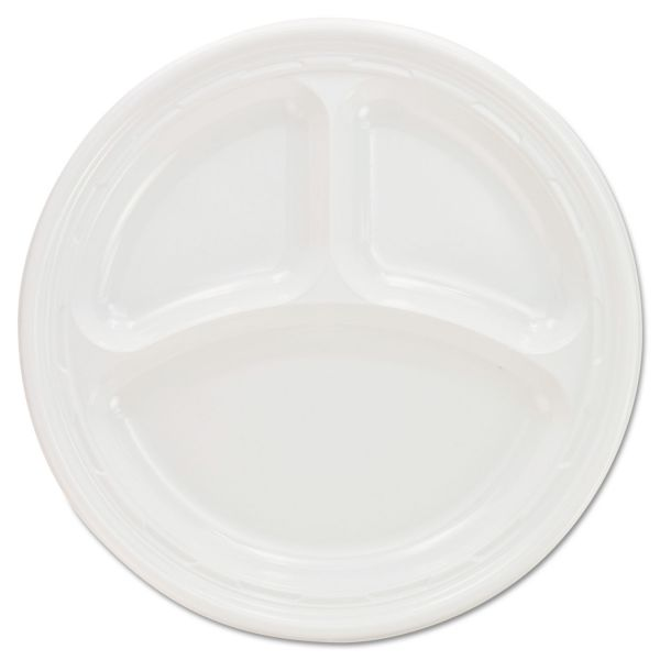 Dart Plastic Plates, 9 Inches, White, 3 Compartments, Round, 125/Pack