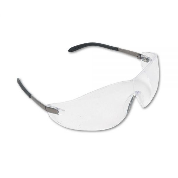MCR Safety Blackjack Wraparound Safety Glasses, Chrome Plastic Frame, Clear Lens