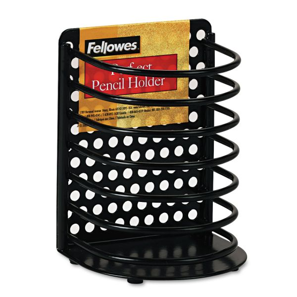 Fellowes Perf-Ect Pencil Cup, Metal, 3 1/2 x 3 x 4 7/8, Black