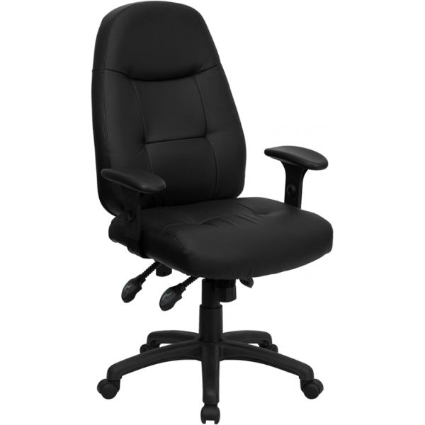 Flash Furniture High Back Leather Executive Swivel Office Chair [BT-2350-BK-GG]