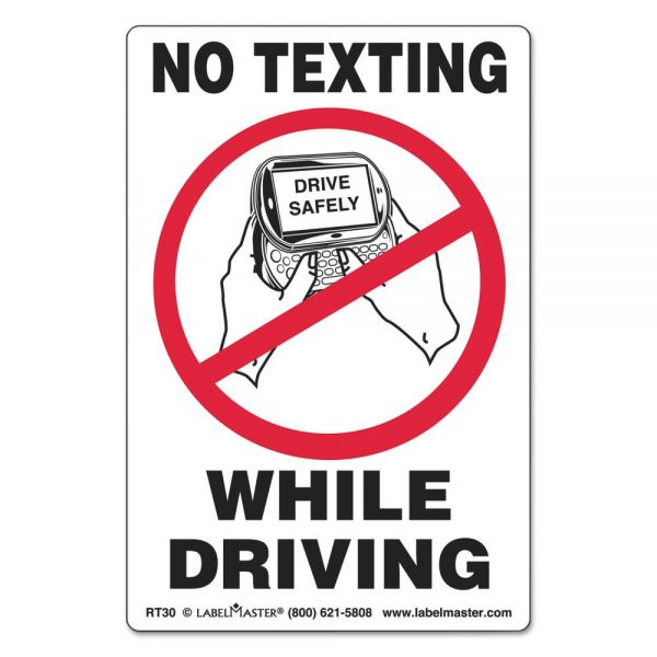 LabelMaster Self-Adhesive Label, 6 1/2 x 4 1/2, NO TEXTING WHILE DRIVING, 500/Roll