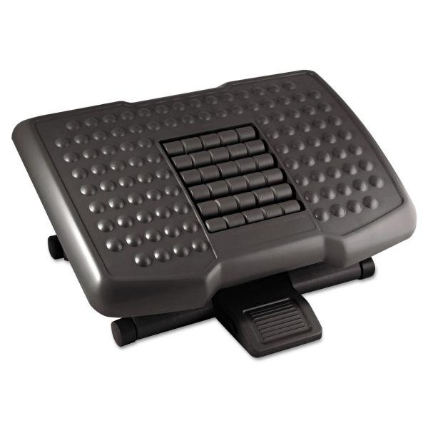 Kantek Premium Adjustable Footrest With Rollers, Plastic, 18w x 13d x 4h, Black