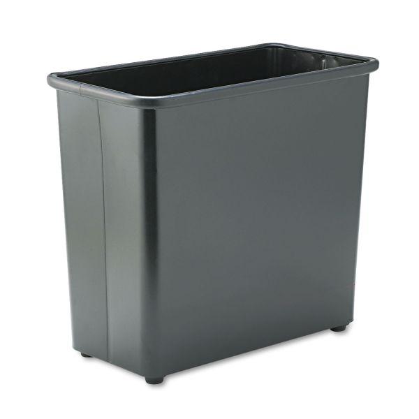 Safco Rectangular Wastebasket, Steel, 27.5qt, Black