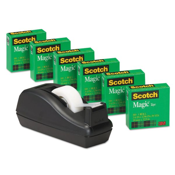 "Scotch 3/4"" Magic Tape Refills & Deluxe Desktop Tape Dispenser"