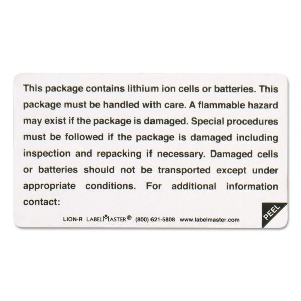 LabelMaster Lithium Battery Self-Adhesive Label, 4 1/4 x 4 1/2, CONTAINS BATTERIES, 500/Roll