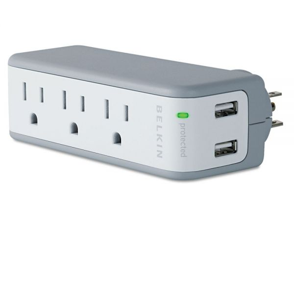 Belkin Wall Mount Surge Protector, 3 Outlets/2 USB Ports, 918 Joules, Gray/White