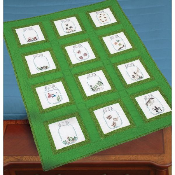 Jack Dempsey Themed Stamped White Quilt Blocks