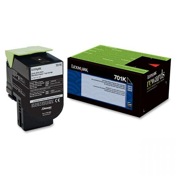 Lexmark 701K Black Return Program Toner Cartridge (70C10K0)