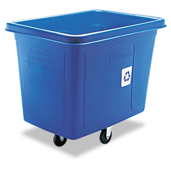 Rubbermaid Commercial Recycling Cube Truck, Rectangular, Polyethylene, 500lb Cap, Blue