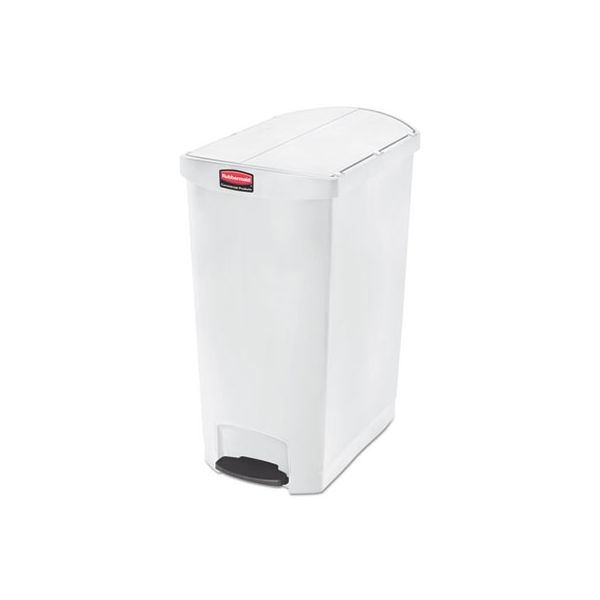 Rubbermaid Commercial Slim Jim Resin Step-On Container, End Step Style, 24 gal, White