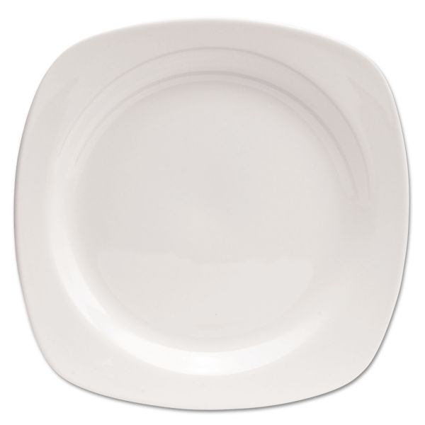 "Office Settings Chef's Table Fine Porcelain Square Dinnerware, Plate, 10 1/2"" dia, White, 8/Box"