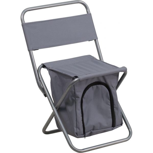 Flash Furniture Folding Camping Chair with Insulated Storage in Gray