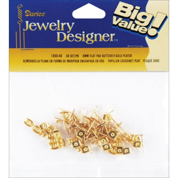 Flat Pad Earring Posts & Butterfly Clutches 6mm 36/Pkg