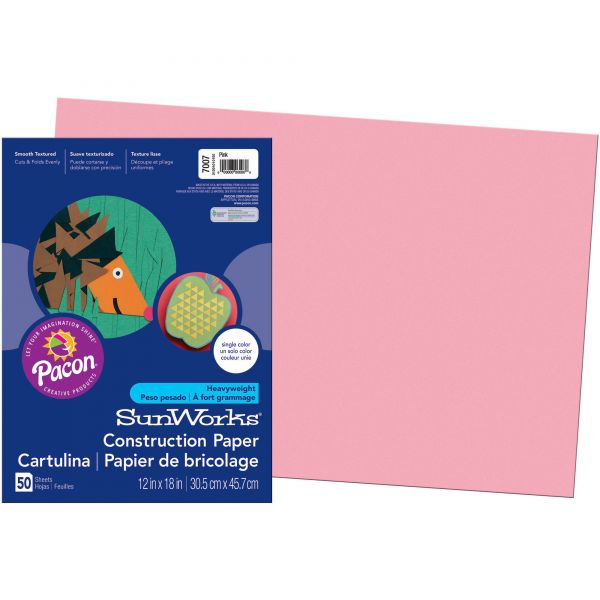 SunWorks Heavyweight Pink Construction Paper