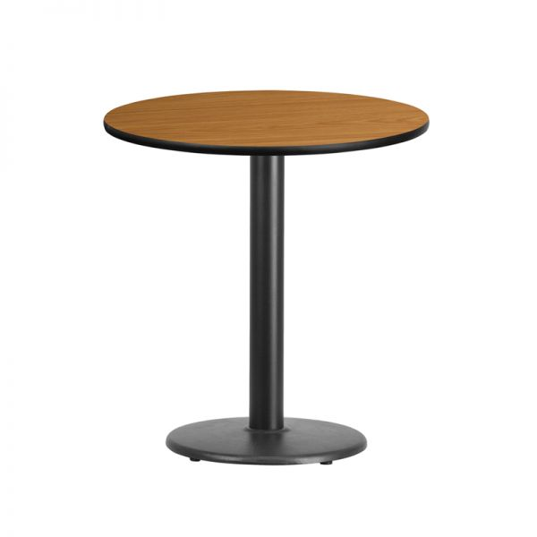 Flash Furniture 24'' Round Natural Laminate Table Top with 18'' Round Table Height Base