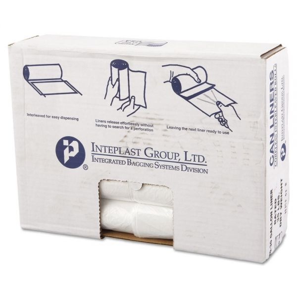 Inteplast Group High-Density Can Liner, 30 x 36, 30gal, 11mic, Clear, 25/Roll, 20 Rolls/Carton