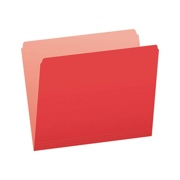 Pendaflex Colored File Folders, Straight Cut, Top Tab, Letter, Red/Light Red, 100/Box