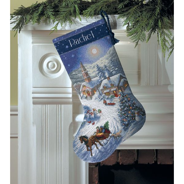 Dimensions Gold Collection Sleigh Ride At Dusk Stocking Counted Cross Stitch Kit